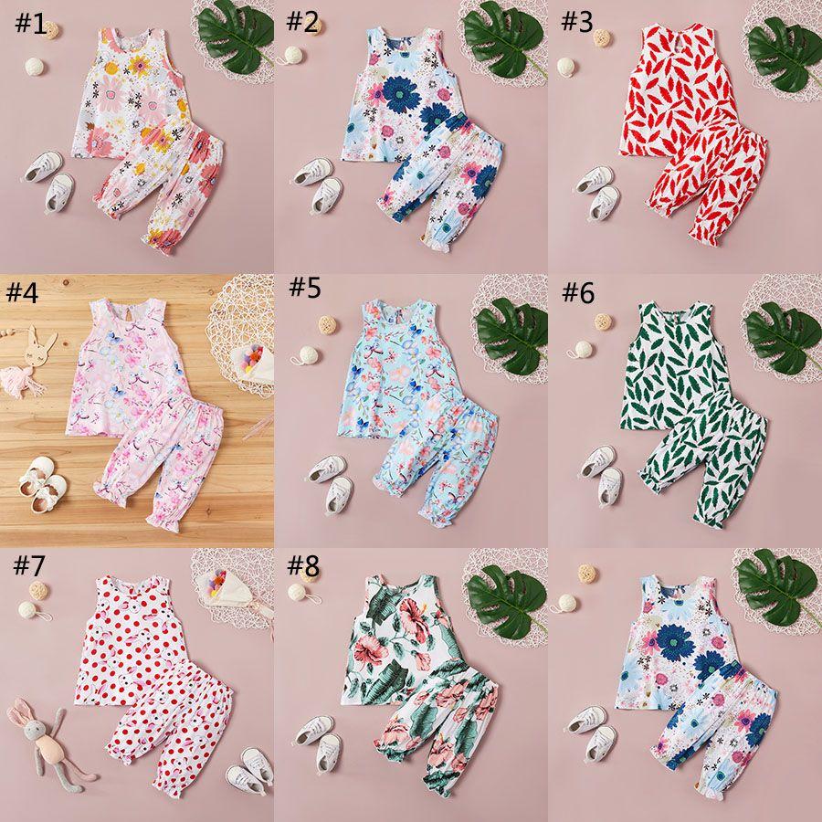 2020 Yaz Yeni Bebek Kız Çiçek Giyim Seti Kolsuz Yelek Çiçek Baskı Üst + Uzun Pantolon 2pcs / set Butik Çocuklar Casual Giyim M1870