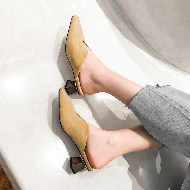 Ручной работы женщины Весна замша мул обувь острым носом шикарный офис Леди рабочая обувь черное платье насосы 4 см мед каблуки Zapatos Femmes