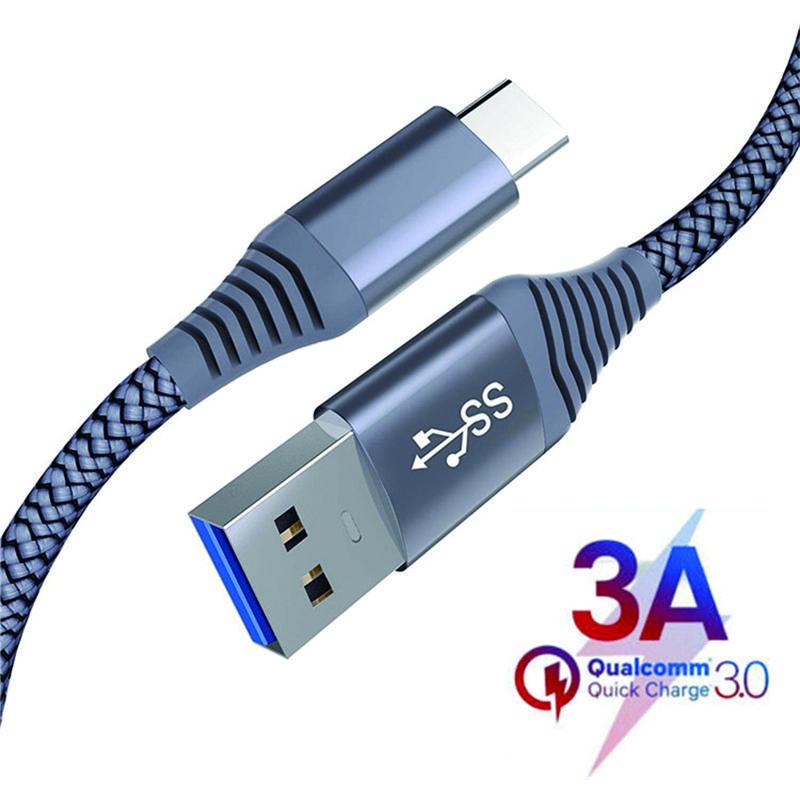 1.2M USB نوع C كابل 3A الشحن السريع QC 3.0 الشحن السريع تاريخ الكابل لسامسونج S9 S8 LG G7
