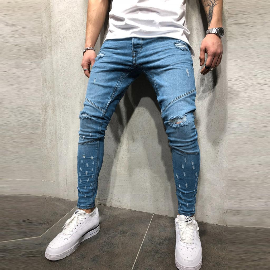 Compre 2019 Moda Para Hombre Pantalones Vaqueros Rasgados Streetwear Pantalones De Mezclilla Con Agujero Desgastado Algodon Vintage Hiphop Pantalones Hiphop Jeans A 47 49 Del Yan556 Dhgate Com