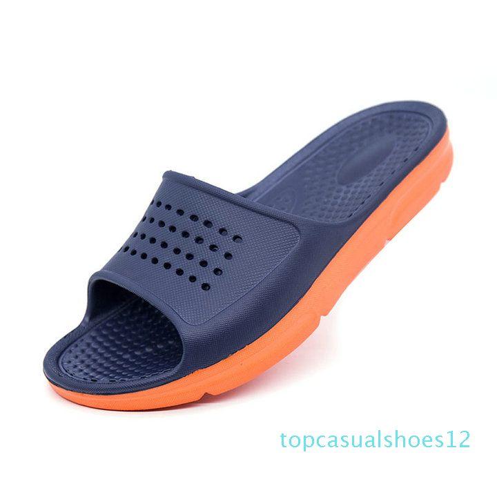 Zapatilla de gran tamaño ocasional del verano flip flop de moda para hombre sandalias de la playa de los hombres al aire libre plana zapatos de los deslizadores exterior antideslizantes sandalias t21
