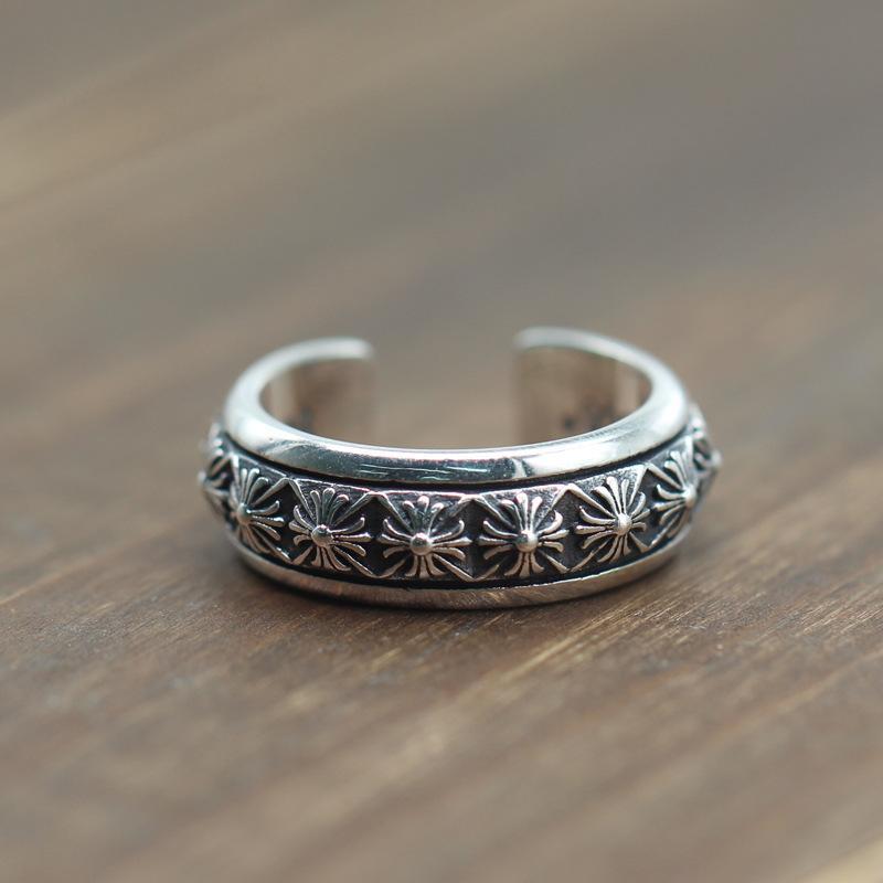 925 bijoux en argent sterling vintage design en main américaine européenne argent antique floral croix bande arounded anneau ouvert