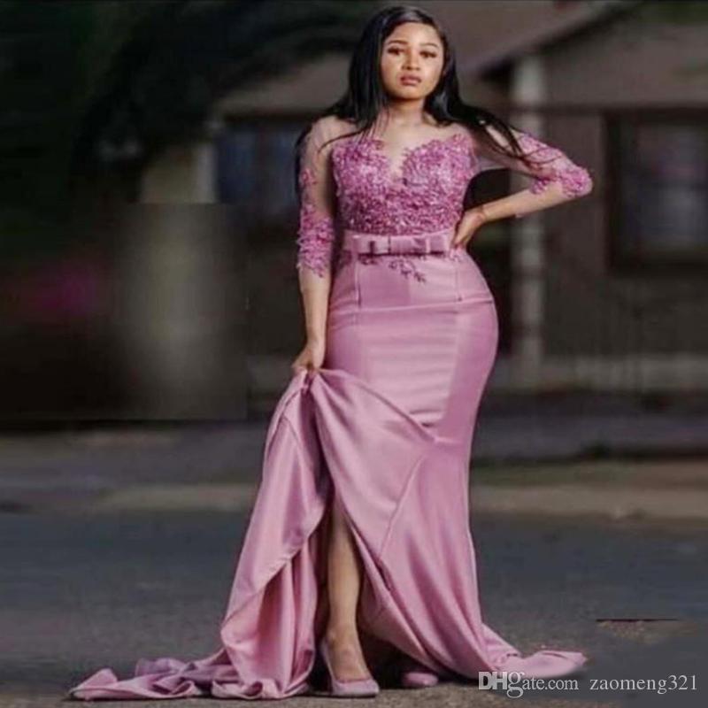 Dusty Rose de la manera vestidos de noche Arabia árabe sirena Madre de los vestidos del desfile de fin de curso del partido apliques 3/4 mangas de vestidos de novia de raso