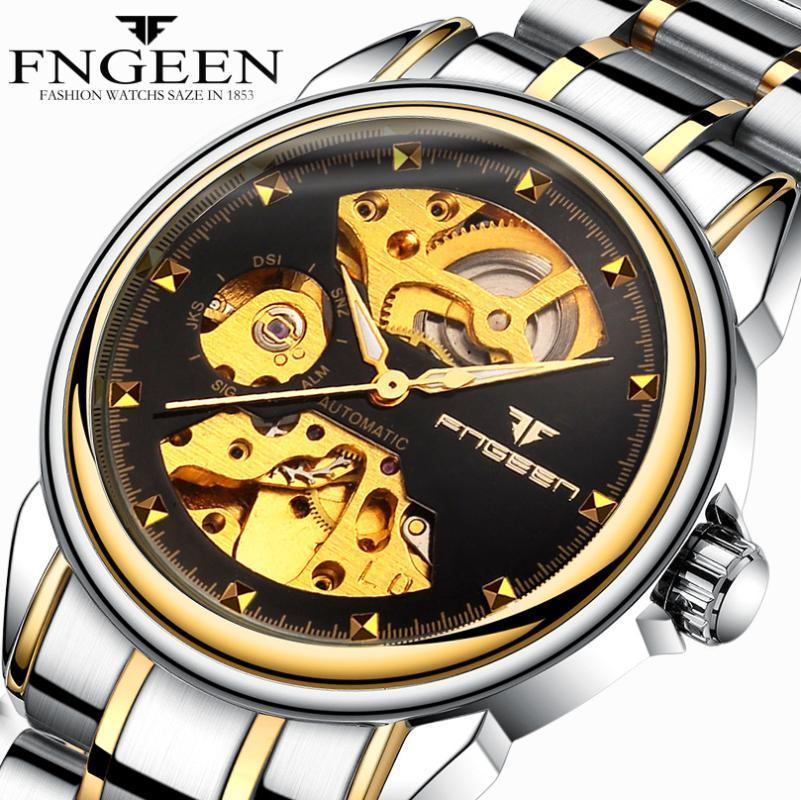 FNGEEN automatique Wristwatchs hommes d'or Skeleton mécanique Montres Hommes étanche Horloge Zegarki Meskie Mekanik Saat A3335