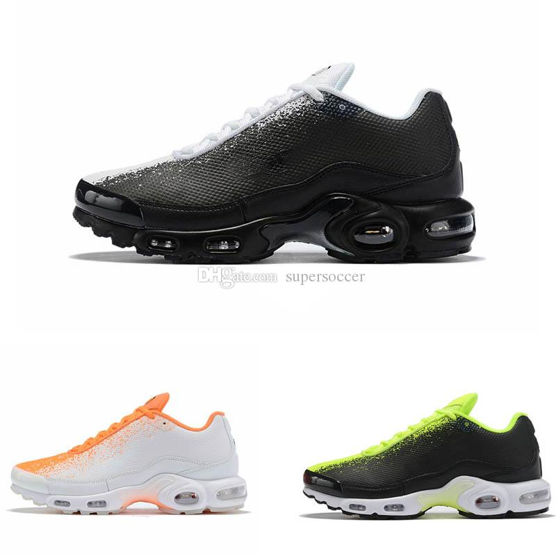 Novos homens tn além de sapatos preto branco orange desinger tênis de corrida sports sneakers tamanho 40-46