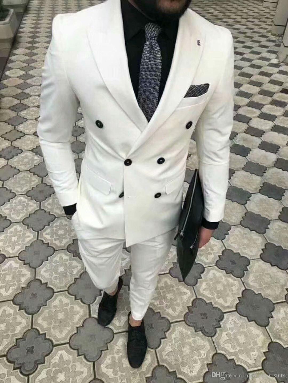 2019 dernières conceptions de pantalons de manteau tuxedos marié blanc Blazer croisé Slim Fit hommes costumes pour le mariage Dîner Costume Terno