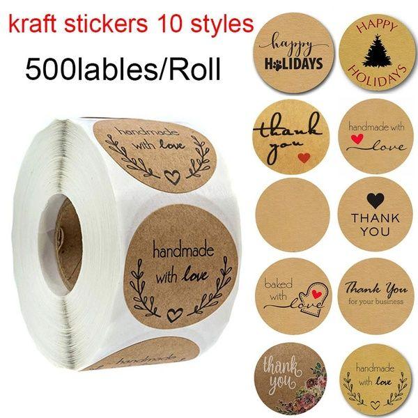 1 дюйм круглый коричневый Крафт наклейки 500 этикеток на рулон ручной работы с любовью спасибо