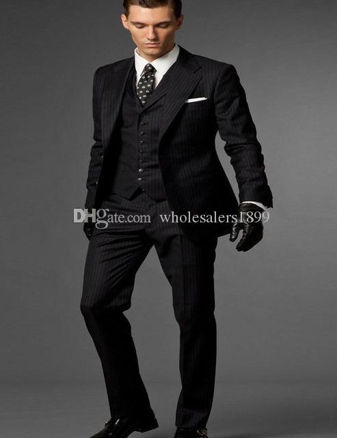 Popüler iki düğme siyah Damat Smokin çentik Yaka Groomsmen Erkekler Düğün Damat (Ceket + Pantolon + Yelek + Kravat) NO: 151