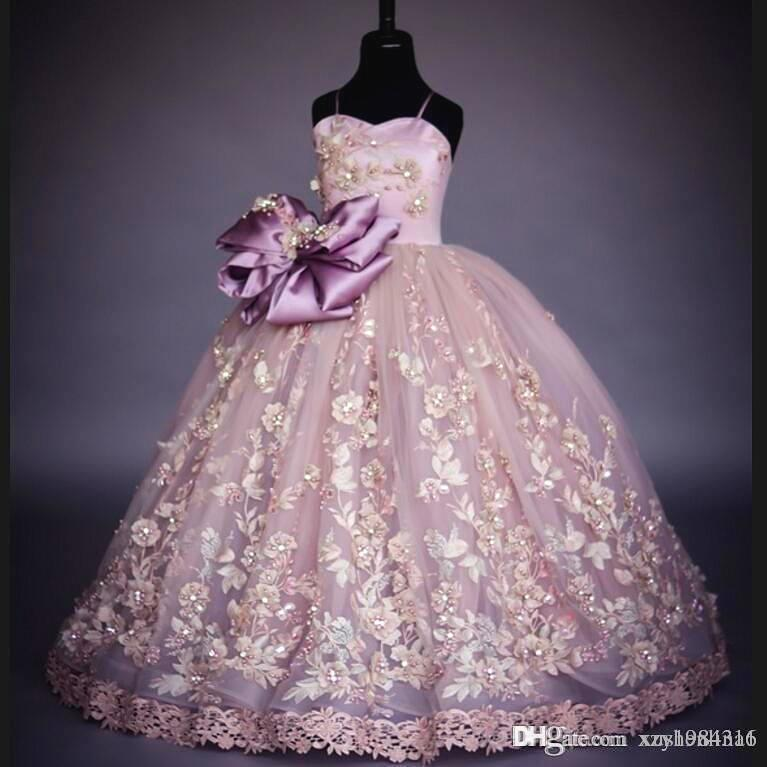 Beautiful Hand Made Girls Pageant Gown High Quality Flower Dresses for Little Girl Unique Dark Lavender Event Party Wear for Cute Young Lady