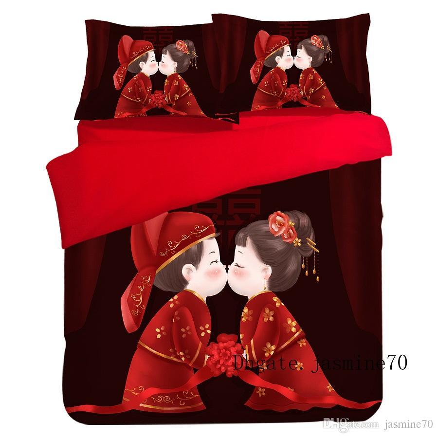 Nuovi popolari set di biancheria da letto Trapunta da stampa reattiva Copripiumino Lenzuolo Federa Twin Full Queen King Size