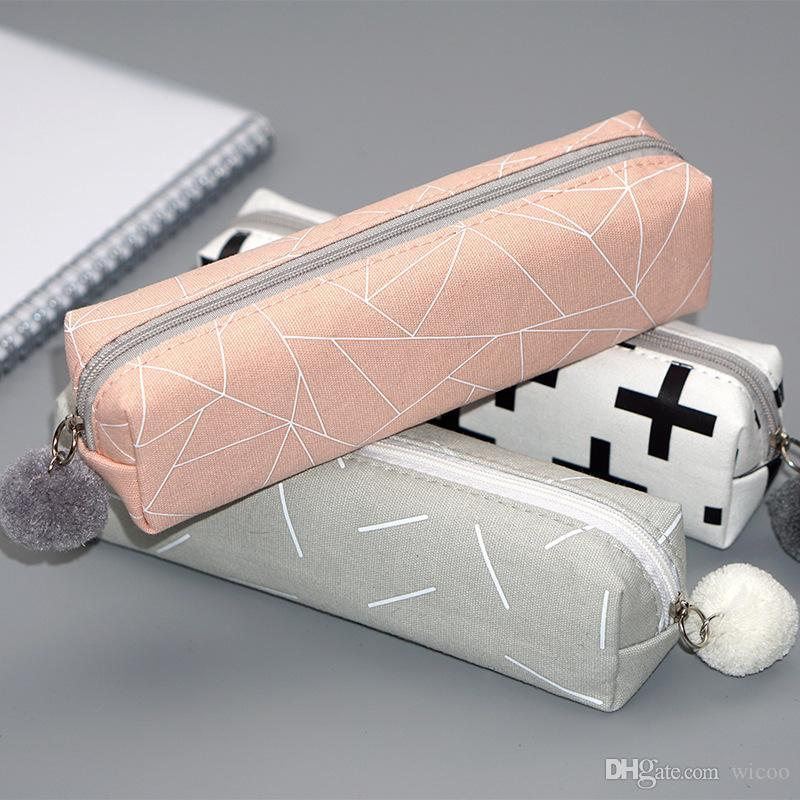 2020 New Bags Solid Color Girls Student Pencil Case School Pencil Cases For Girl Stationery Canvas Pencil Bag