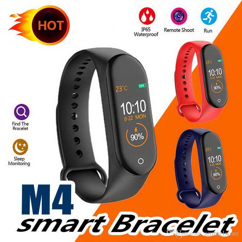banda polegadas M4 inteligente Pulseira Pulseira de Fitness Rastreador relógio de Freqüência Cardíaca Pressão Arterial relógio inteligente 0,96 Health Monitor mi 4 M3