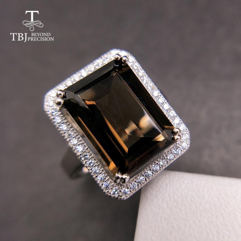 TBJ, Классический большой размер драгоценного камня кольцо с природным дымный oct10 * 14мм в 925 серебра специальный Gemstone ювелирные изделия подарок для женщин CJ191205