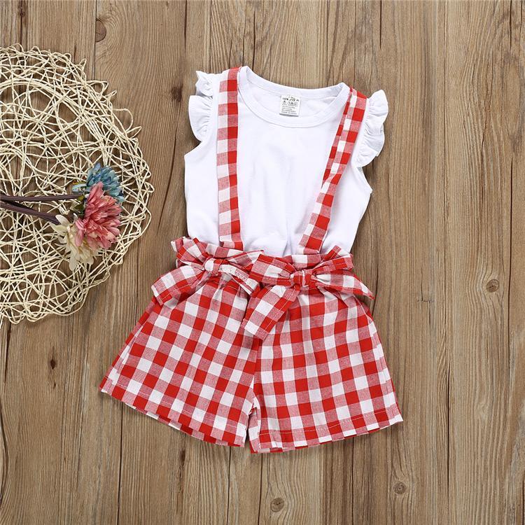 Yaz bebek kız çocuk giyim Seti çocuk giyim beyaz Yelek üst + kafes şort yaylar Tulum 2 adet setleri çocuklar giysi tasarımcısı kızlar JY348