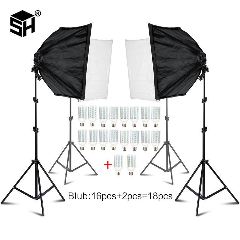 Box acessórios baratos Photo Studio Photo Studio Retângulo Fotografia macia 8 Led 20W Kit iluminação fotográfica 2 Light Stand 2 Caixa macia
