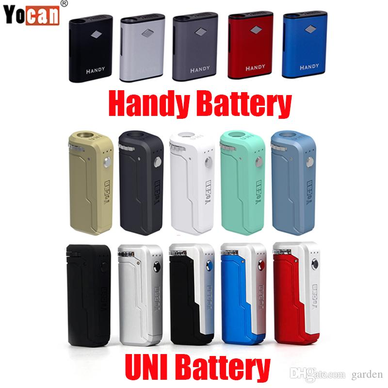 Orijinal Yocan Handy Uni Box Mod 500mAh 650 mAh Preheat VV Manyetik Bağlantı ile VV Vape Pil Palm 510 Kalın Yağ Kartuşu 100% Otantik
