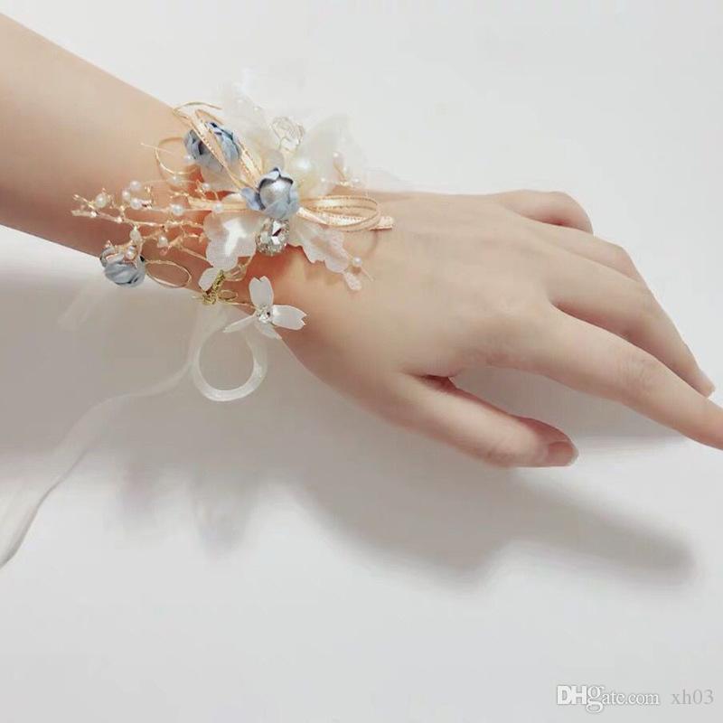 Wedding Girls Bridesmaid Wrist Flowers Prom Party Corsage Bracelet Accessories