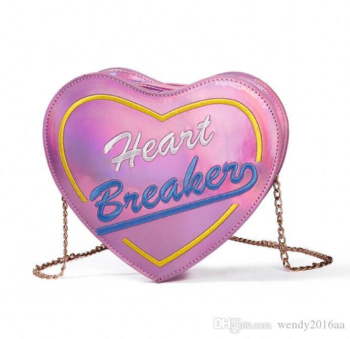 50pcs 2019 Women PU Laser Love Letter Printed Patten Chain Shoulder Bag gold silver pink Makeup bag Zipper Cosmetic Bag