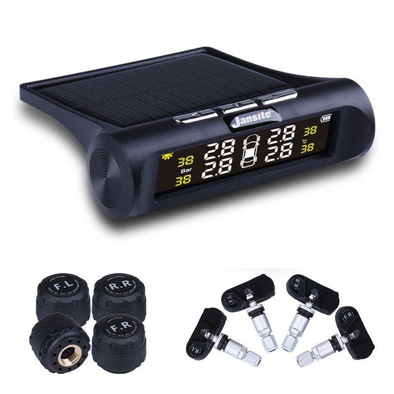 Sistema di monitoraggio della pressione dei pneumatici TPMS Car CKS Ricarica solare Display LCD digitale HD Sistema di allarme automatico Wireless con 4 sensori