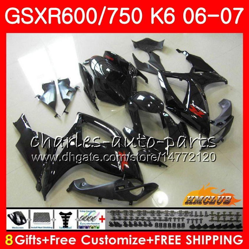 Kropp för SUZUKI GSX R750 GSX R600 GSXR 600 750 GSXR750 06-07 8HC.116 GSXR-750 GSX-R600 K6 Gloss Black GSXR600 06 07 2006 2007 Fairing Kit