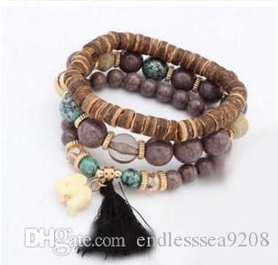 Nuove mode, europei e americani di moda, simpatico braccialetto a catena di elefante, perline di perline di legno braccialetto 12pcs / lot