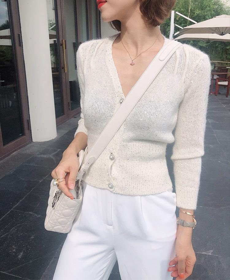 Women Long Sleeve V Neck Slim Fit White Or Grey Cardigan Sweater With Button Closure - Latest Fashion Knitted Jumper SH190930