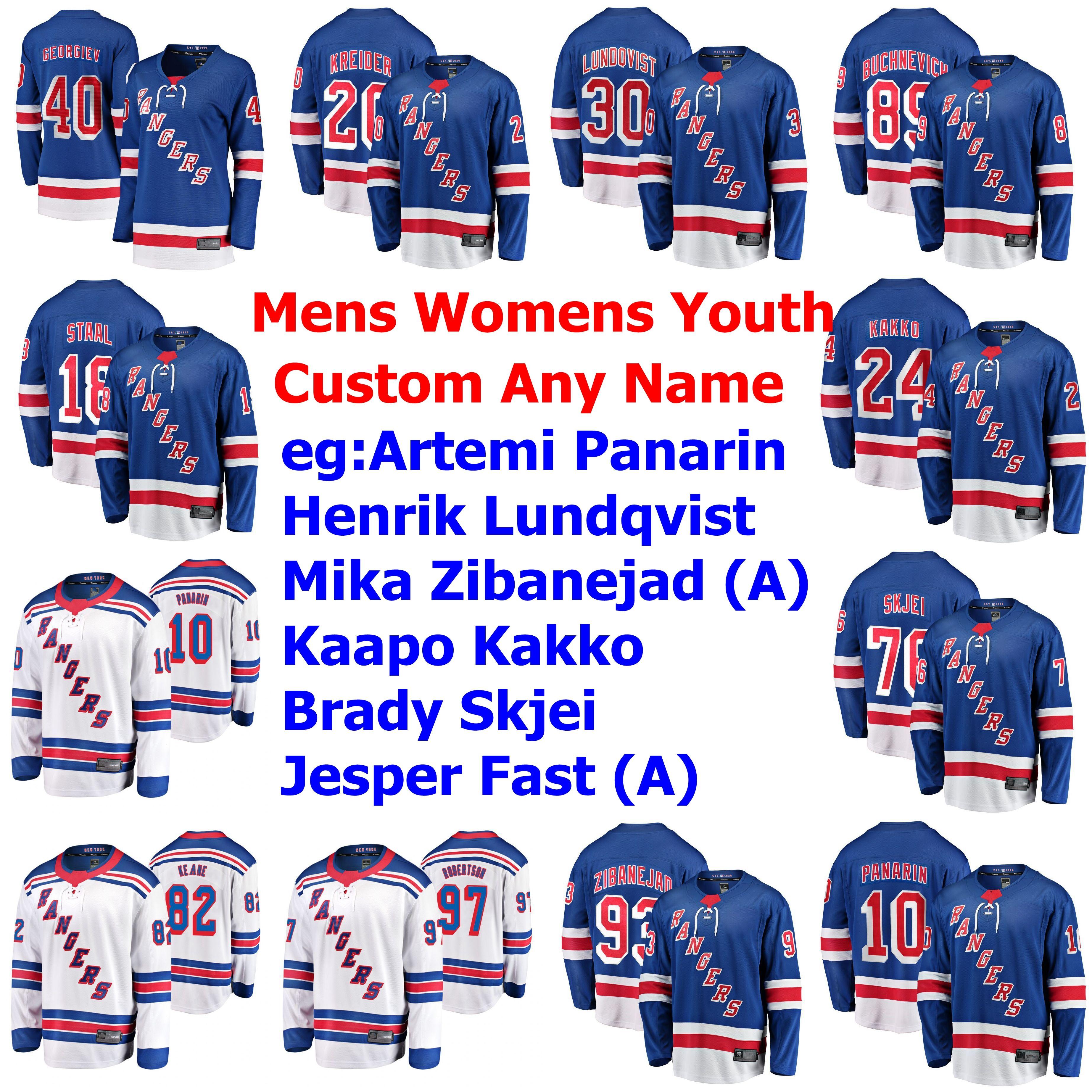 New York Rangers Jerseys Ryan Strome Jersey 24 Kaapo Kakko Mark MessierIce Artemi Panarin Henrik Lundqvist Hockey camisas personalizadas costurado