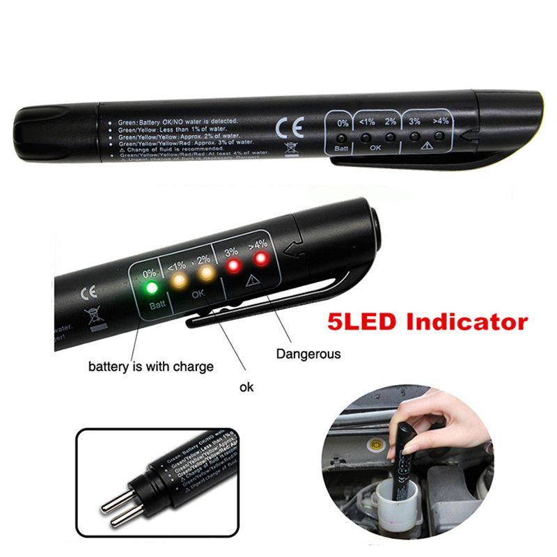 أداة تشخيص اختبار سيارة الفرامل السائل تستر البسيطة اختبار الكهربائية أداة الفرامل السائل اختبار القلم 5 LED المؤشر النفط سيارة