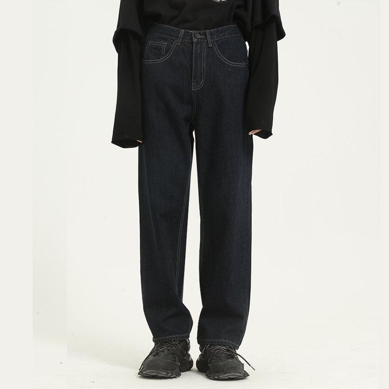 Homens Vintage Casual soltos Hetero Jeans Calças Masculino Hihg Street Fashion perna larga Denim Pants 4 ordens