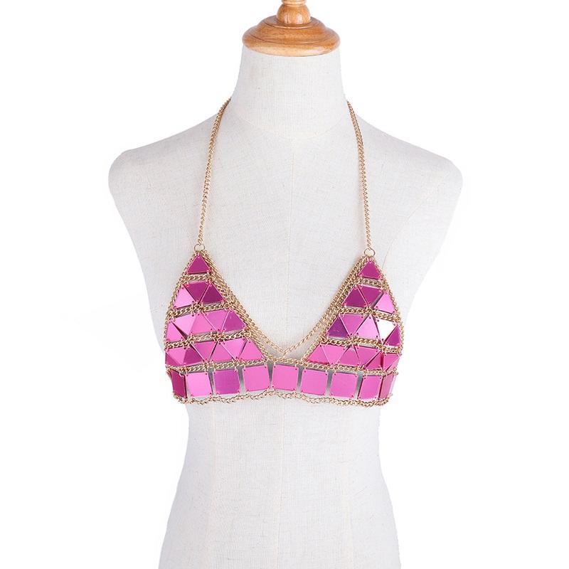 비키니 정장 패션 크리스탈 섹시 바디 목걸이 체인 브래지어 목걸이 여름 보헤미안 럭셔리 브라 여성