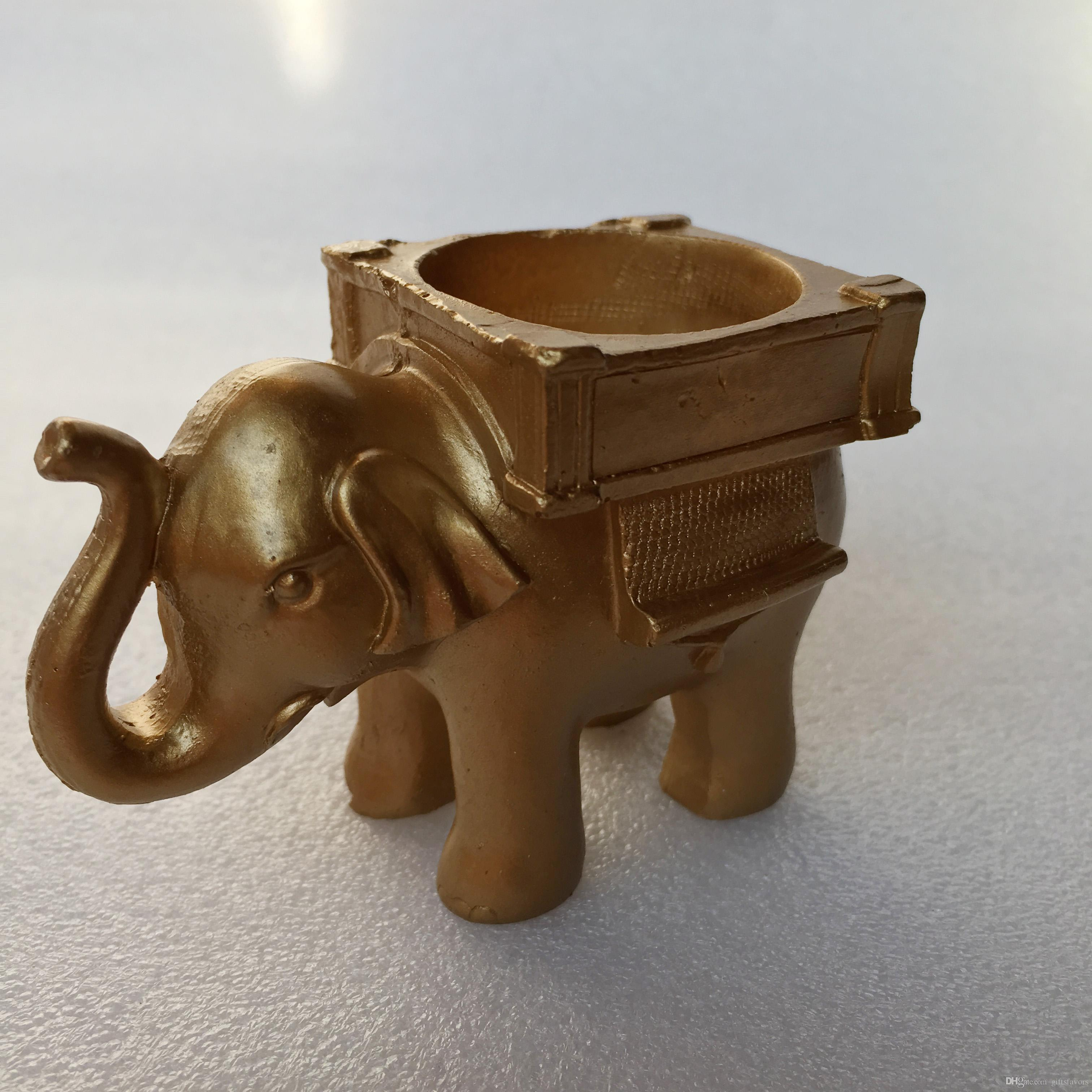 Resign Gold Lucky Elephant Candle Holder 50th 60th Anniversary Birthday Party favors wedding return gifts wholesale free shipping