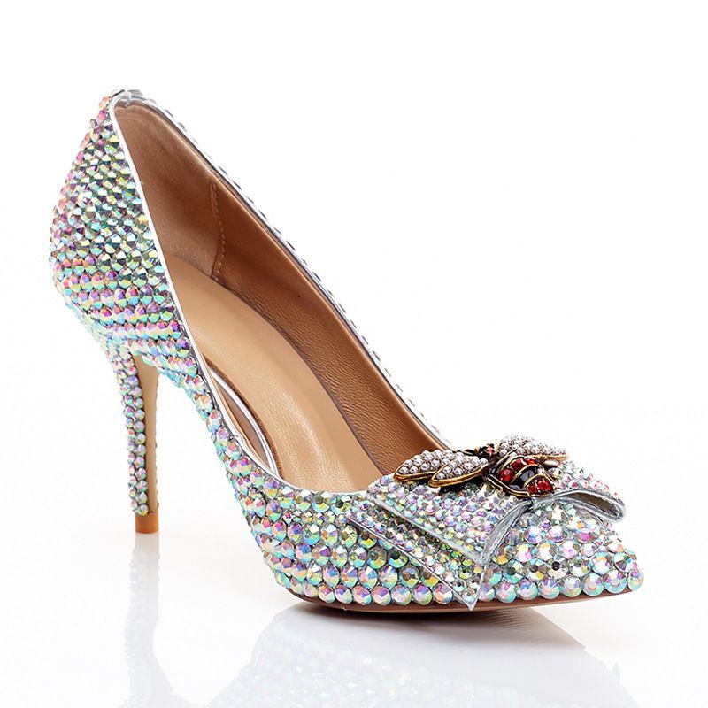 Yeni lüks sığ ağız yüksek topuklu deri düğün ayakkabı kadın renkli elmas yay prenses rüzgar gelin moda sivri ayakkabılar nedime