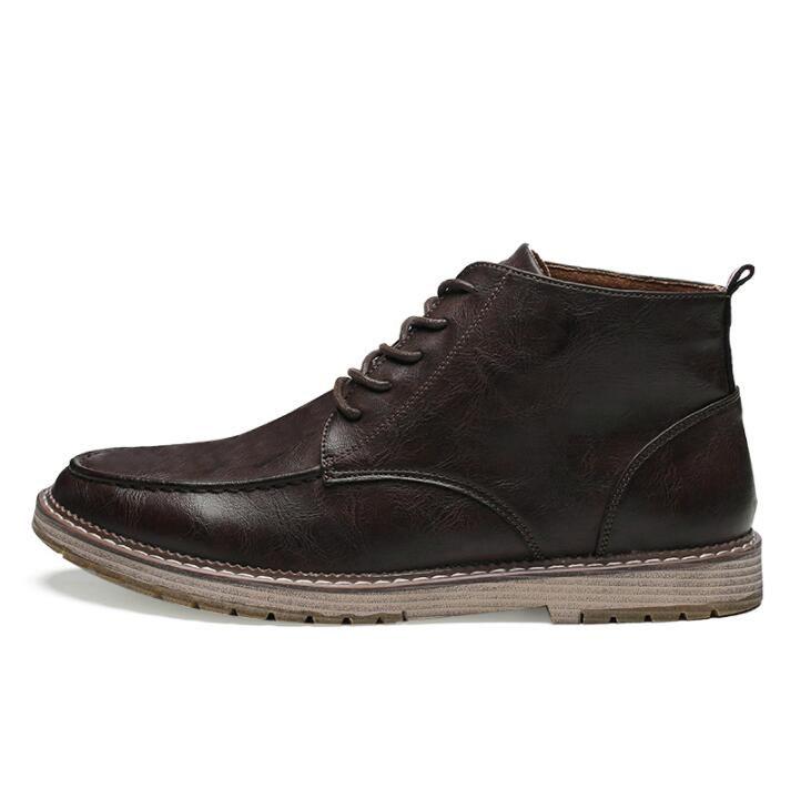 Zapatos de cuero botas Martens Zapatos para hombre fresco de la motocicleta de los hombres los cargadores del tobillo del otoño oxfords de los hombres calza los cargadores de los hombres de trabajo da045