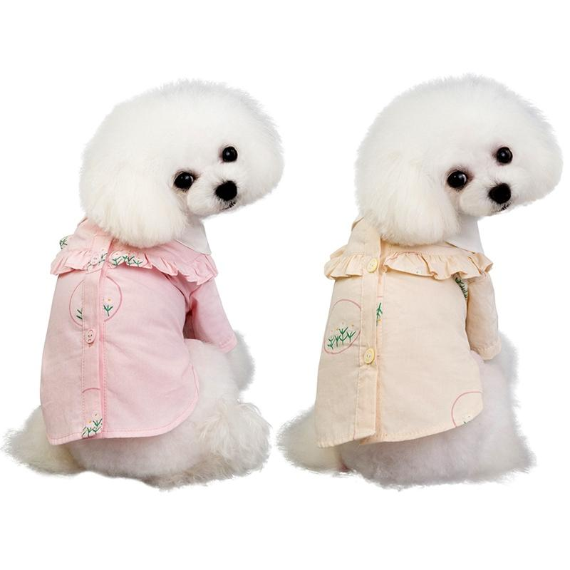 Cute Spring Summer Dog Clothes Pet Girl Floral Shirts For Dogs Cats Vest Fashion Dog Shirts Costume With Lotus Leaf Collar