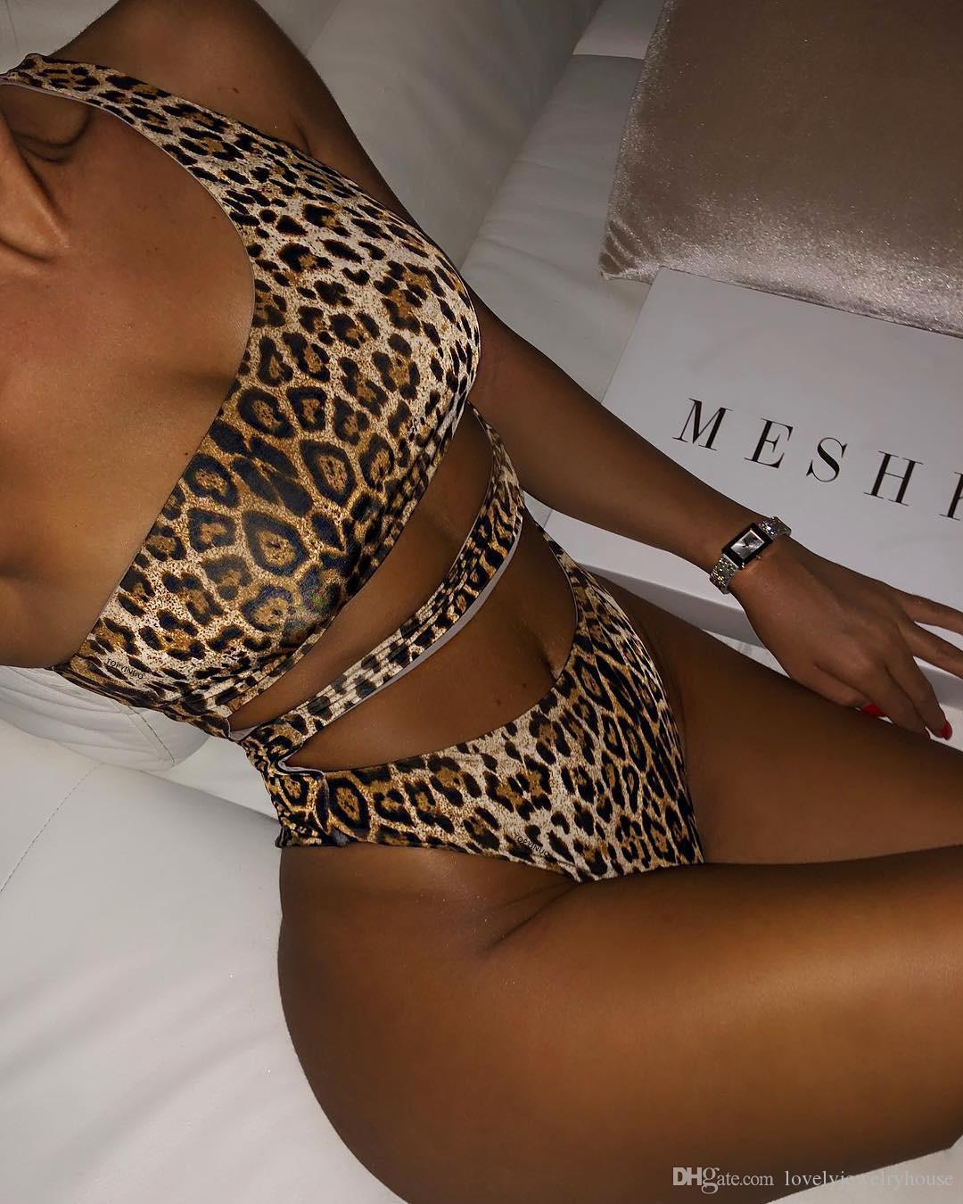 2019052517 Seksi leopar baskı kadınlar bodysuits Bir omuz bandaj yüksek plaj yaz mayo bikini kadar mayo itin kesti