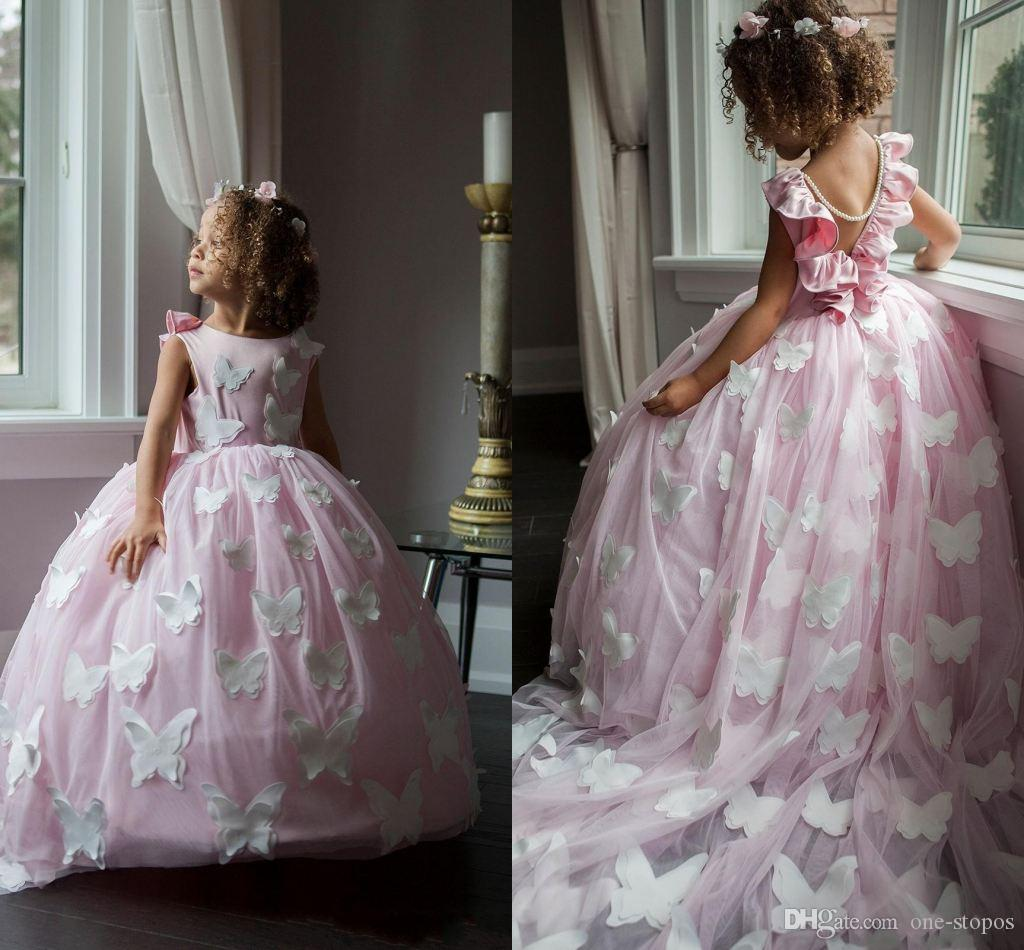 2020 Bonito Rosa Flor Vestidos Menina Com Borboleta Lace V Vestido De Bolas Vestido Girls Pageant Vestido Personalizado Feito Pérolas Cheater Crianças Formal Vestido