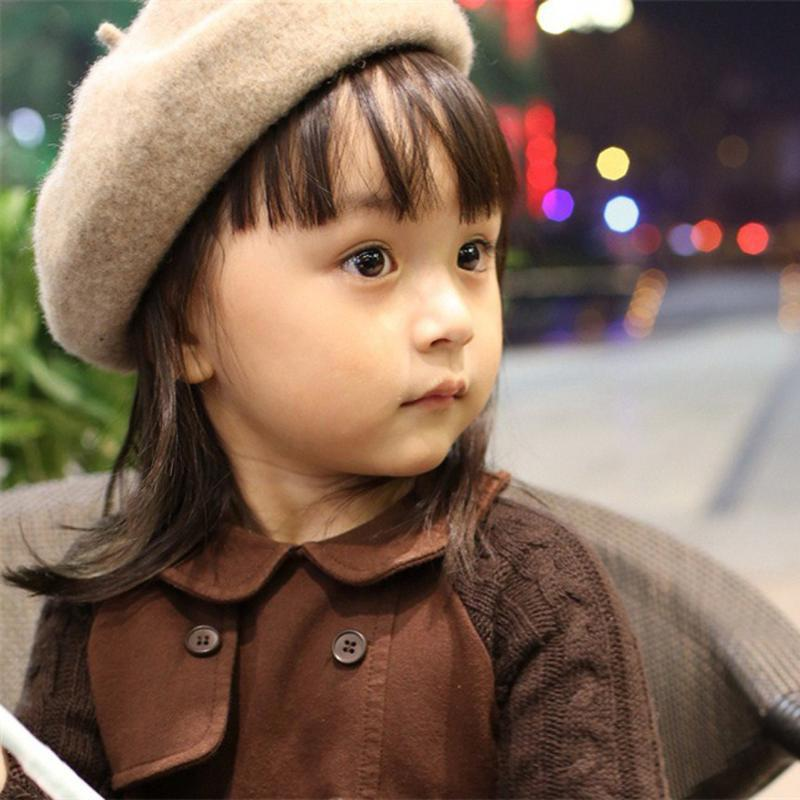 Cute Wool Baby Hat for Girls Vintage Autumn Winter Baby Beanies Cap Kids Adjustable Toddler Beret Painter Hat Hair Accessories#X