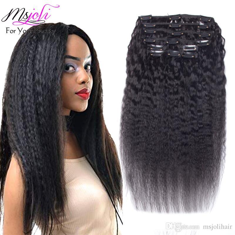 Clip en extensiones de cabello humano Clip de cabello rizado brasileño natural Remy Clip-ins 7pcs 70G 100G 120G clip de yaki en extensiones de cabello humano