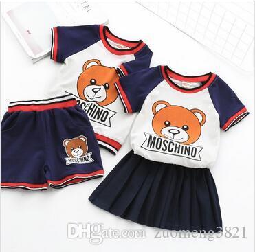 Nova marca de Designer Meninos e meninas set Verão Infantil Maré Do Bebê Bonito Urso Marca Crianças T-shirt Shorts Saia terno