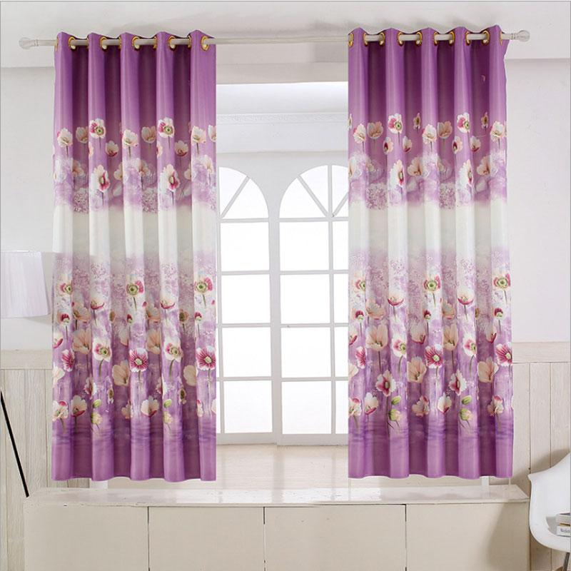 Pastoral Rustic style Floral curtains short kitchen Window Decoration Grommets Kids Room Curtains Printed Single panel
