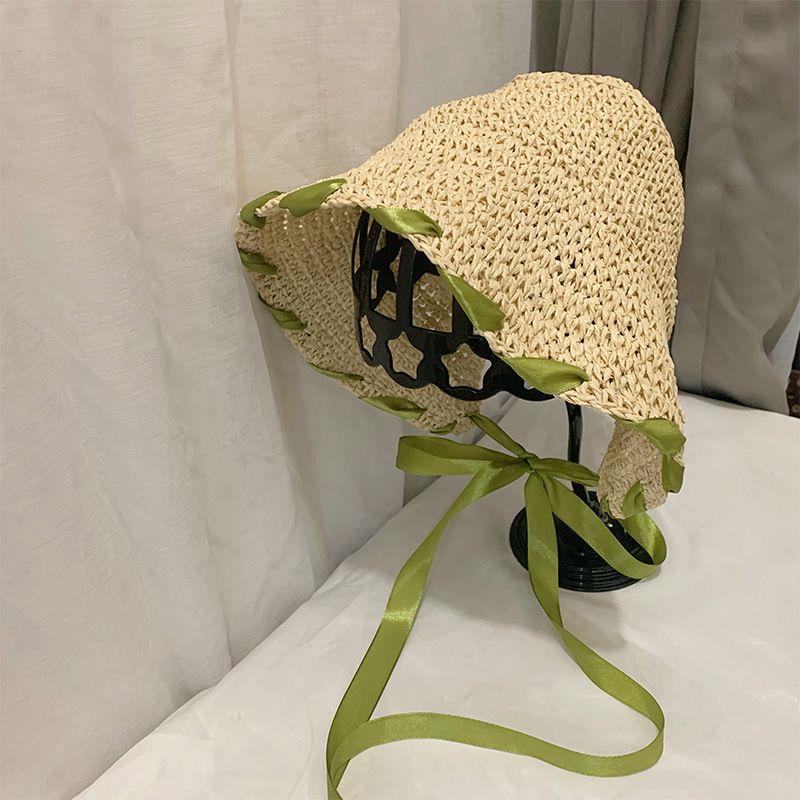 Fita atada novo Venda Handmade Straw Hat Primavera e Verão New japonês Ins dobrável Loli Vento Chapéu de palha Chapéu de Sol Viagem