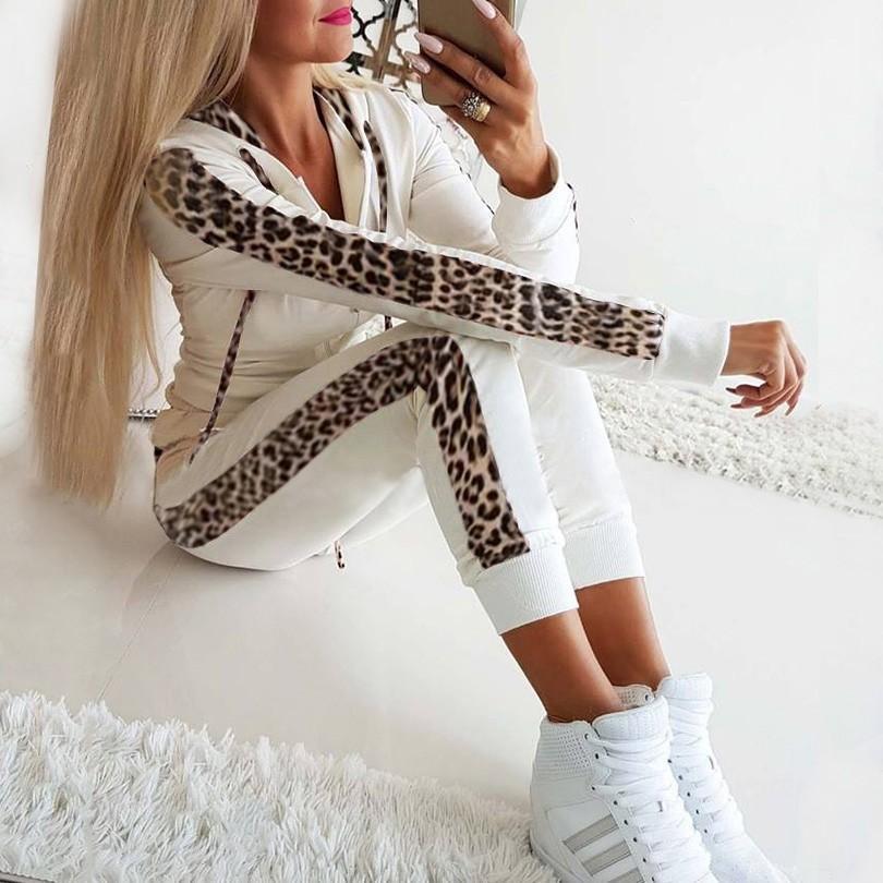 Leopardo del chándal de las mujeres de la impresión del lazo ocasional atractivo de dos piezas T200528 juego que activa la camiseta + Mujer Invierno