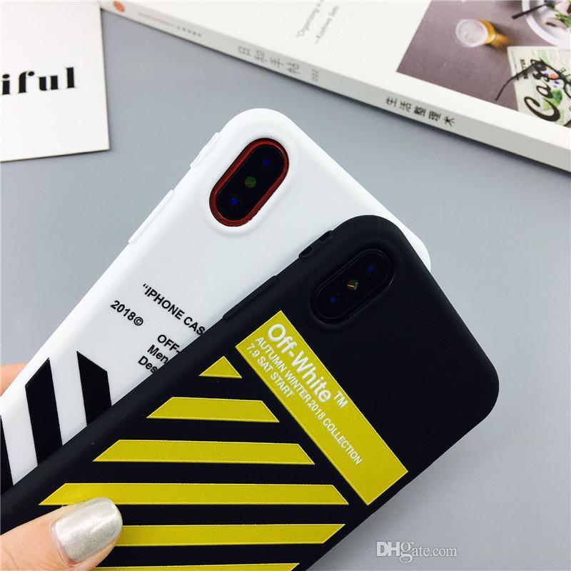 Moda Off Caso banda di marea bianco per iPhone 11 pro caso delle coppie max X XS Max XR Hipster per iPhone 6S 7 8 copertura del silicone Inoltre con cordino