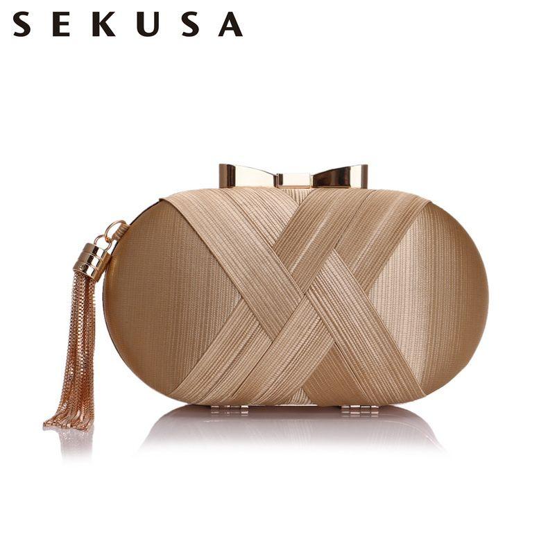 Sekusa Bow Metal Women Day Clutches Tassel Luxurious Fashion Lady Evening Bags Small Party Wedding Bridal Chain Shoulder Handbag Y19061301