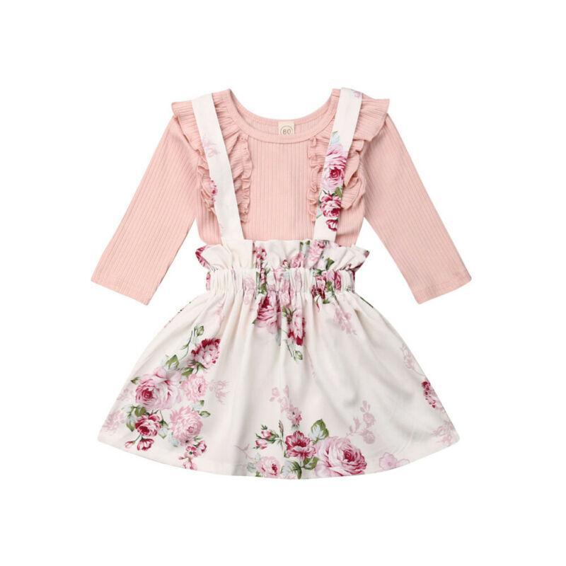 Neonato bambino bambini della neonata Fly manica Ruffle cotone T-Shirt Top manica lunga + floreale pannello esterno della cinghia abiti estivi vestiti Set