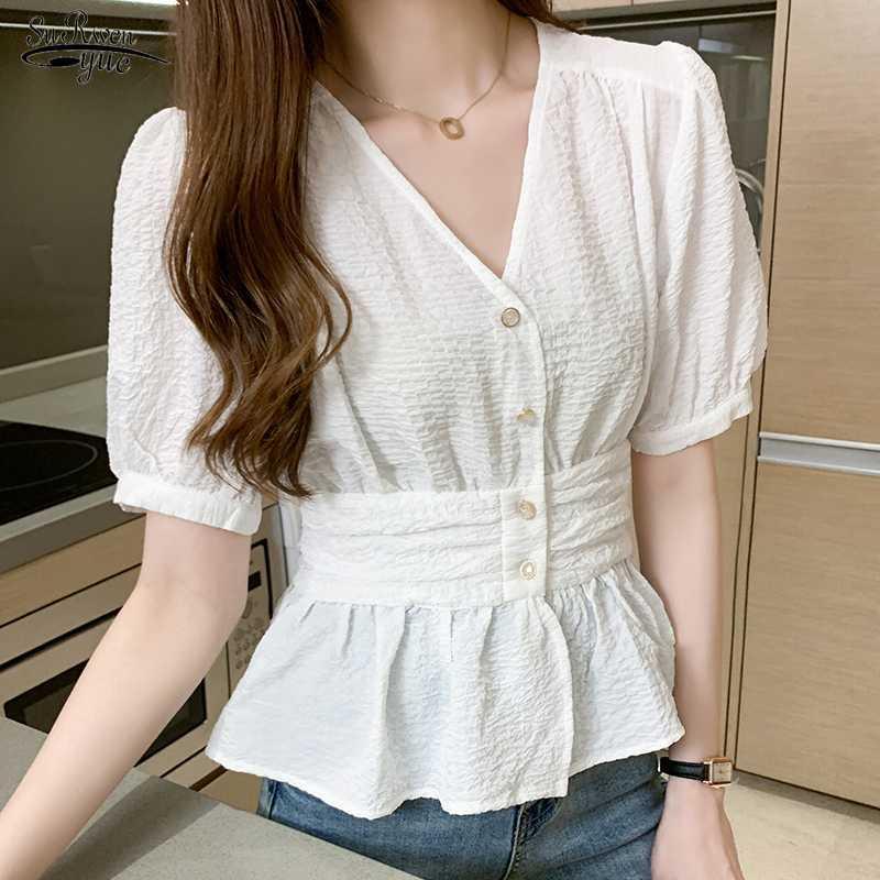 2020 Sommer V-Ansatz Kurzhülse Shirt Frauen Büro Plus Size Weiß Lila Bluse Frauen Cardigan Knopf Damen Tops Blusas 10047