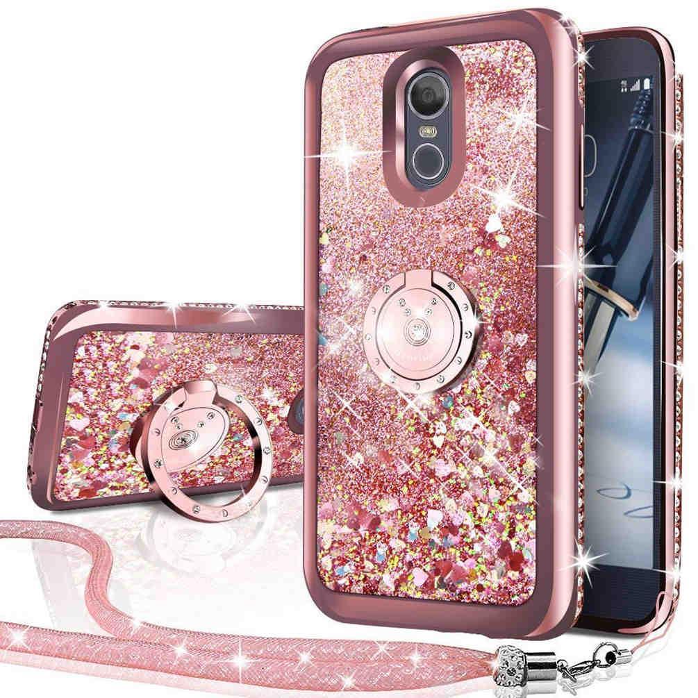 LG Caso Stylo 4, do diamante de Bling Rhinestone Movendo Líquido Holographic faísca Glitter Caso com Kickstand Caso for Girls Mulheres