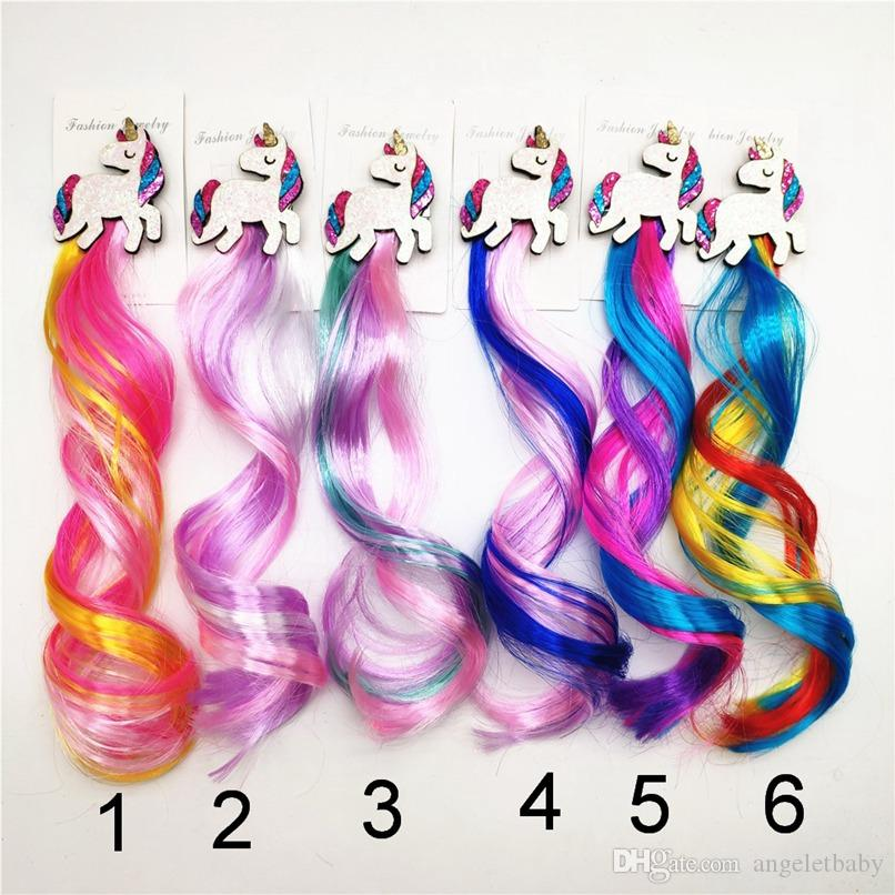 Hair Extensions Curly Wig for Kids Girls Unicorn Head Hair Bows Clips Princess Bobby Pins Hairpin Barrette Hair Accessories 0126
