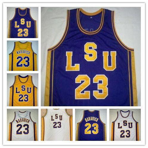 NCAA # 23 Пит Маравича LSU Тигры Урожай Трикотажные Фиолетовый Белый Желтый ретро колледж Баскетбол прошитой Мужчины Дети Взрослые Молодежь размер S-4XL
