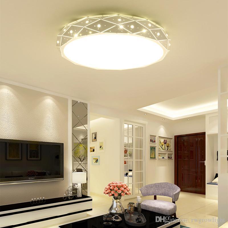 Simple lámpara de techo LED redonda creativa moderna sala de estar sala de hierro forjado macaron luz de techo sala cálida porche pasillo lámparas - I113